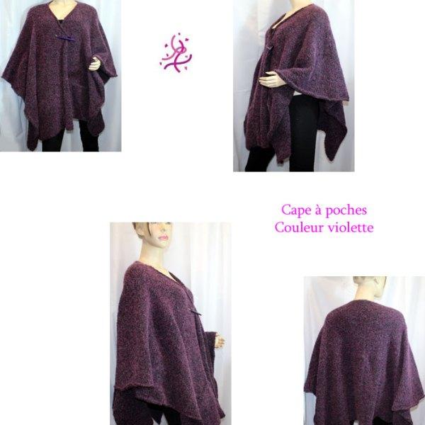 Cape à poches couleur violette