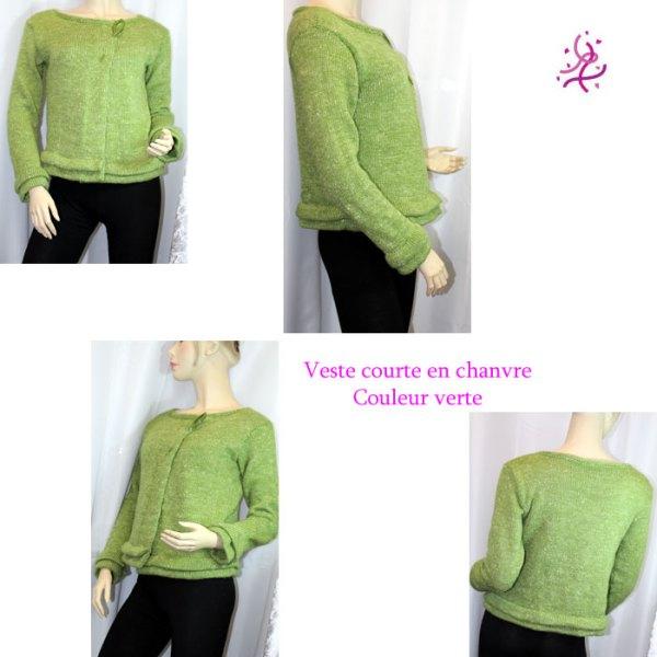 Veste courte en chanvre. couleur verte