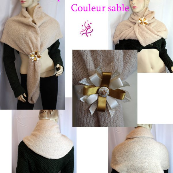 Cape/snood multifacettes, couleur sable