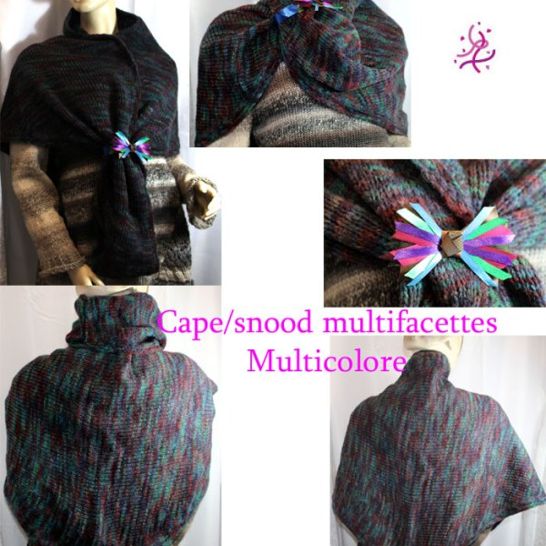 Cape/snood multifacettes, multicolore