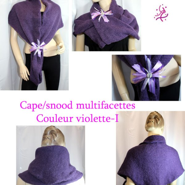 Cape/snood multifacettes violette-I