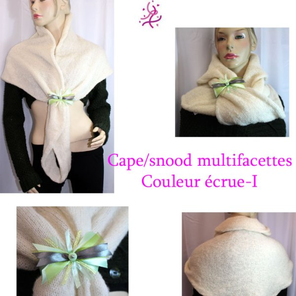 Cape/snood multifacette, couleur écrue-I