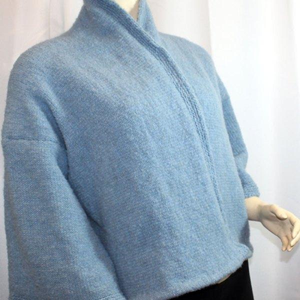 Veste Kimono Unie, couleur denim