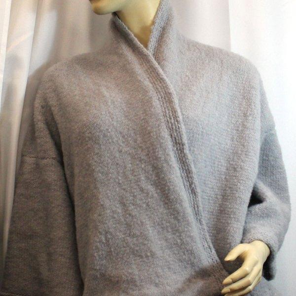 Veste Kimono Unie, couleur gris clair