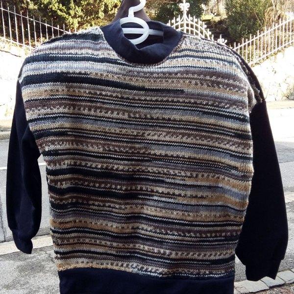 Sweater tricot & tissu marine taille CH 38-40