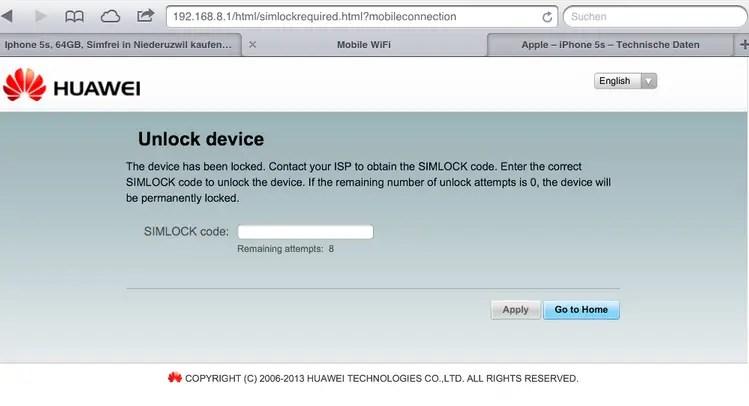 Unlock Huawei E5372 WiFi Mobile Router