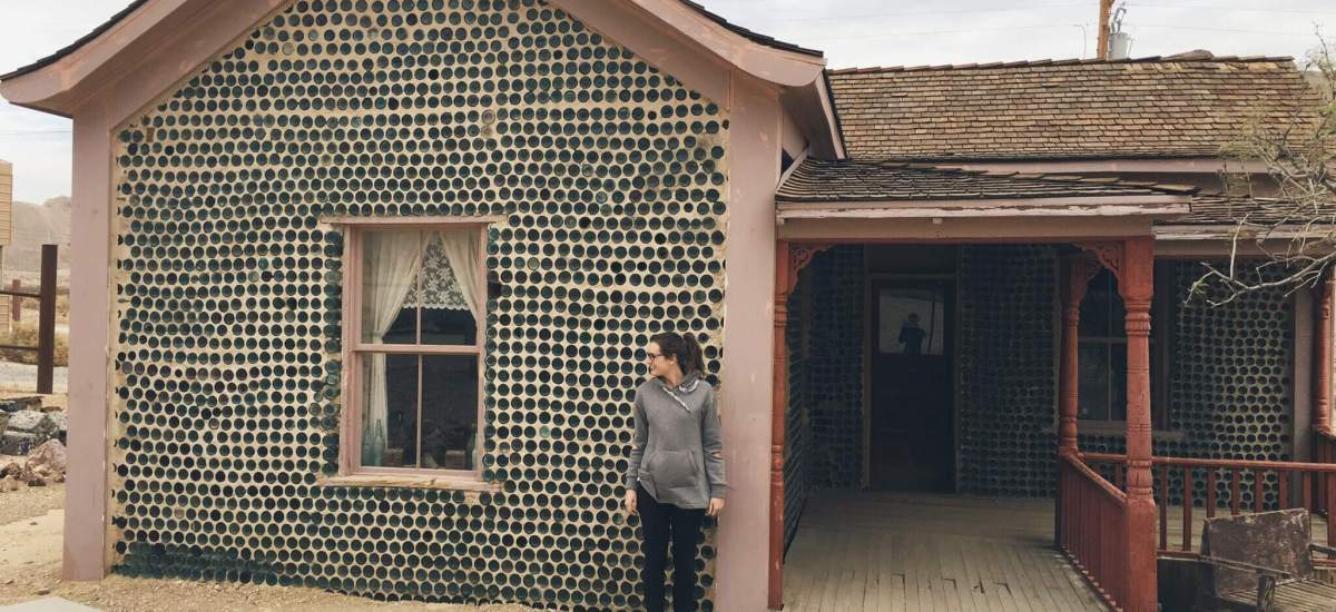 House made of beer bottles, Rhyolite Ghost Town, Nevada near Death Valley National Park
