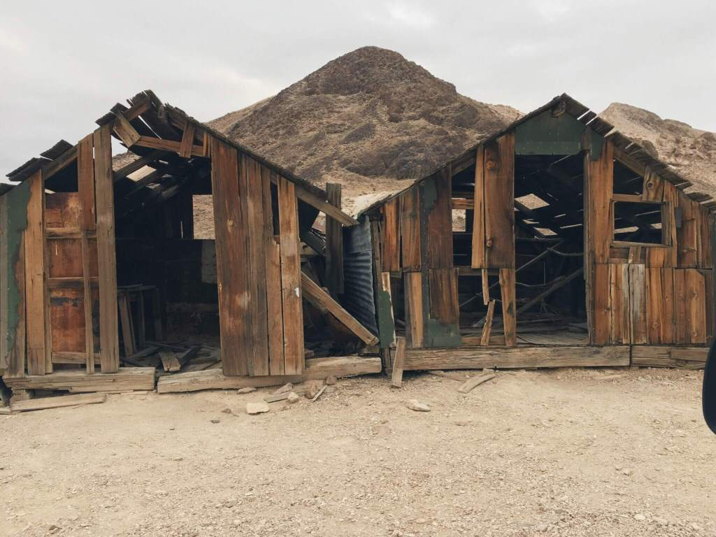 Two run-down shacks next to each other, Rhyolite Ghost Town, Nevada near Death Valley National Park