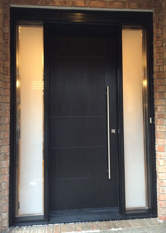 Modern Rustic Woodgrain Fiberglass Entry Door With 2