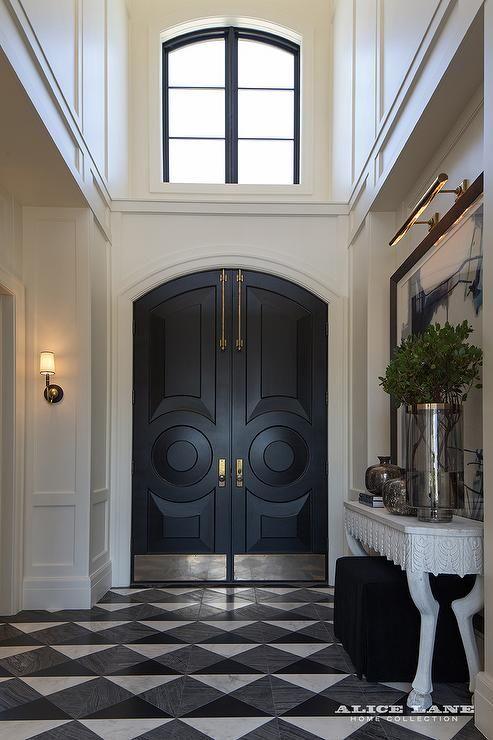 solid wood arched double door kick