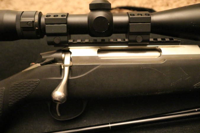 An example of a bolt action rifle. The bolt is slid back and forward to cycle each shot. As a result a bolt action has slower follow up than does a semi-automatic action.