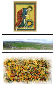3 layers. At the top, a medieval image of God creating the world. In the middle a landscape scene. At the bottom, a crowd of Lego people.