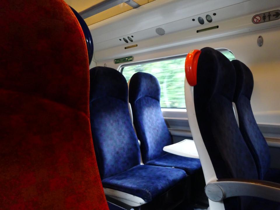Seats on a train