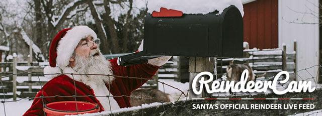 Watch the Reindeer Cam, Santa Live Home Cam: Feeding his Reindeer