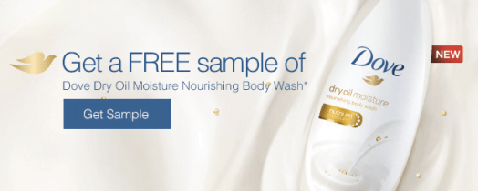 Free Dove Body Wash Sample Bottle Dry Oil Moisture Nourishing AND $3/1 Dove Coupon