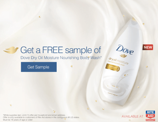Free Dove Body Wash Sample Bottle
