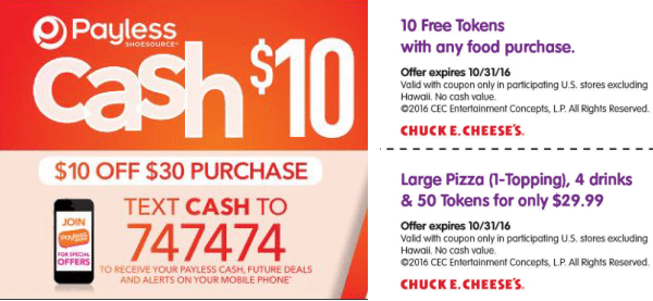 Payless and Chuck E Cheese Coupon Offers