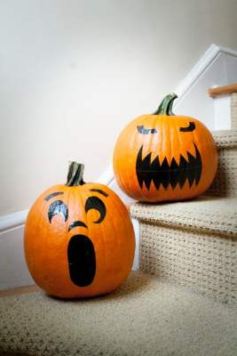 Duct Tape Pumpkin Face Stickers (Faux Jack O'Lantern)