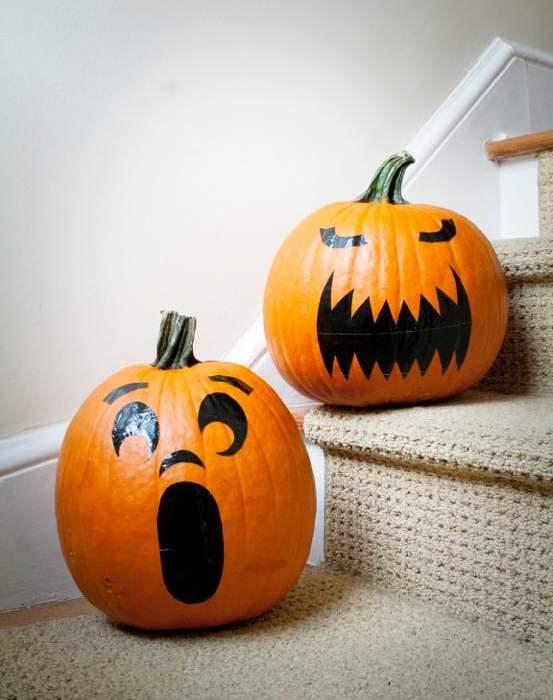 Duct Tape Pumpkin Face Stickers (Faux Jack O'Lantern)