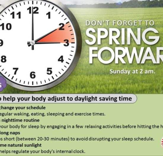 Spring Ahead Time Change! Daylight Saving Time Starts March 12th