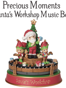 Cute Holiday Decor Precious Moments Santa's Workshop Music Box #Christmas2017 #AD