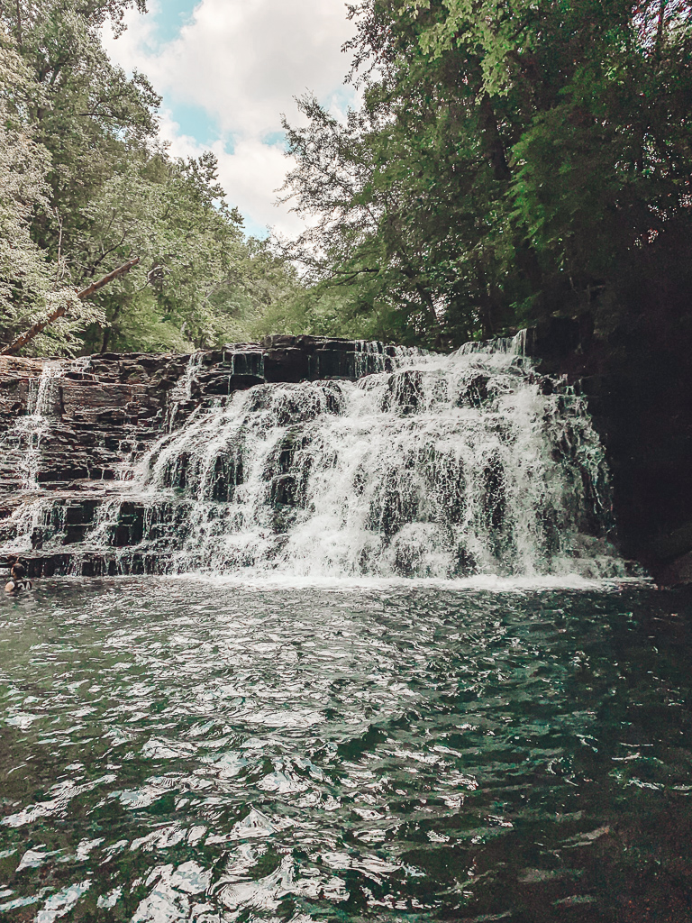 Family-Friendly Waterfall Hiking Trails in Nashville, TN by popular Nashville blog, Modern Day Moguls: image of Rutledge Falls in Tullahoma, TN.