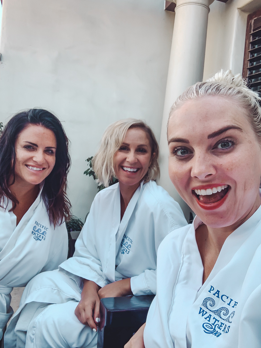 California Vacation Ideas for a Momcation in Orange County by popular Nashville travel blog, Modern Day Moguls: image of three women at Pacific Waters spa.