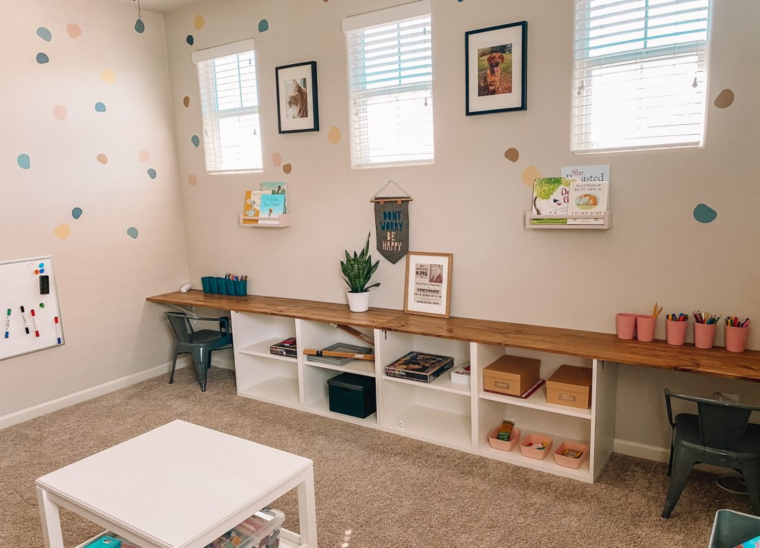 Homeshcool Room by popular Nashville life and style blog, Modern Day Moguls: image of a homeschool room with a all length desk.