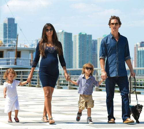 Matthew McConaughey takes a scenic walk in Hudson River Park holding hands with son Levi, pregnant wife Camila Alves, and daughter Vida