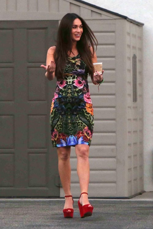 *EXCLUSIVE* Megan Fox's floral print Baby Bump