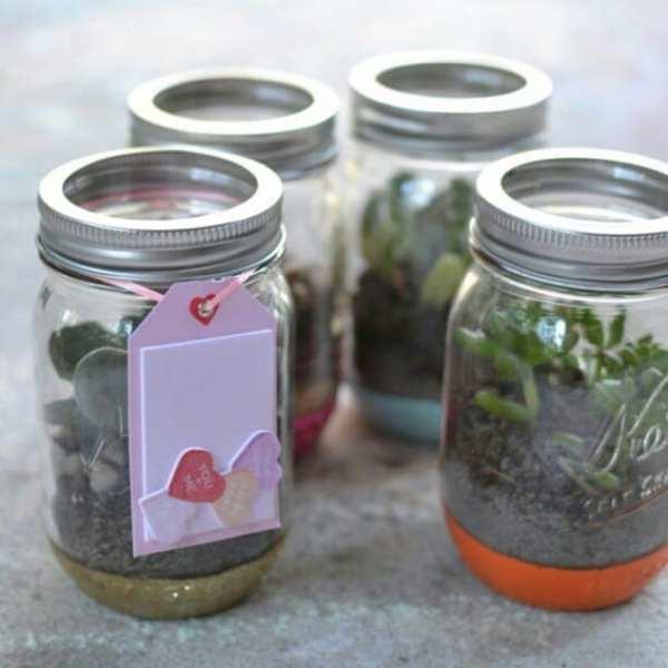 Martha Craft #1: Glittered Mason Jar Terrariums live on the blog today! #12MonthsofMartha #MarthaStewartCrafts @ms_living