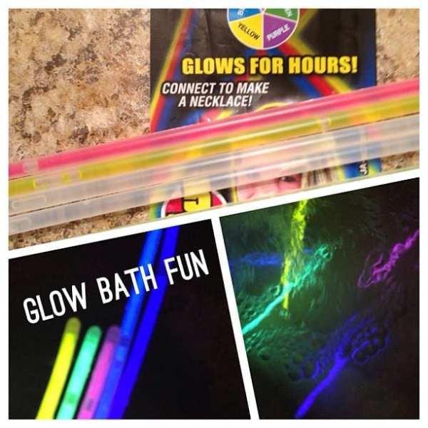 Glow Sticks + Bath = AWESOME!