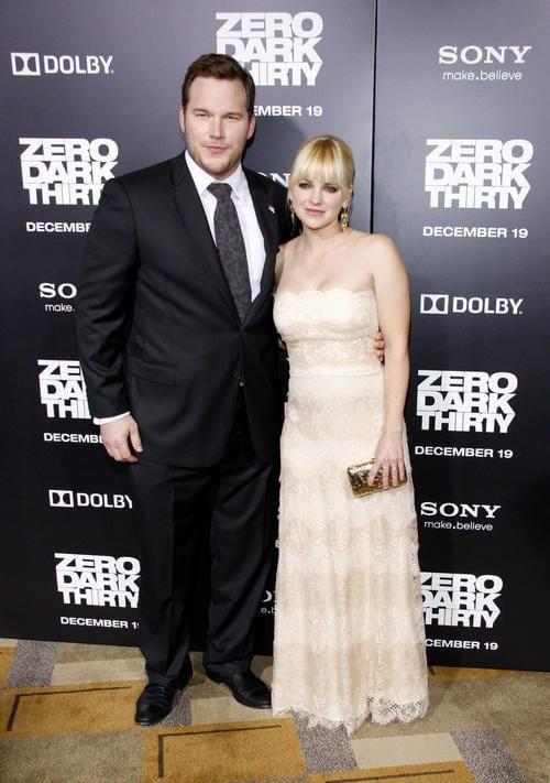 Anna Faris and Chris Pratt at the Los Angeles premiere of 'Zero Dark Thirty'