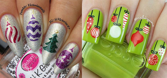 15 Christmas Ornament Nail Art Designs Ideas 2017