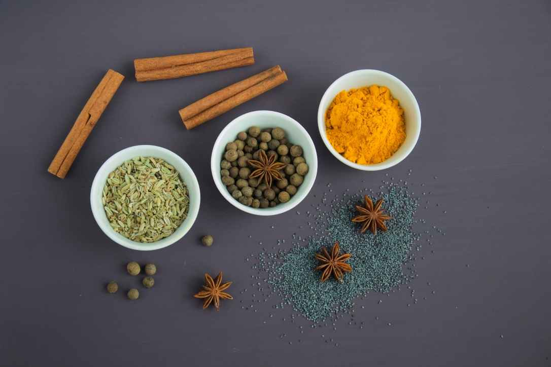 Turmeric, Star anise, Cinnamon Sticks