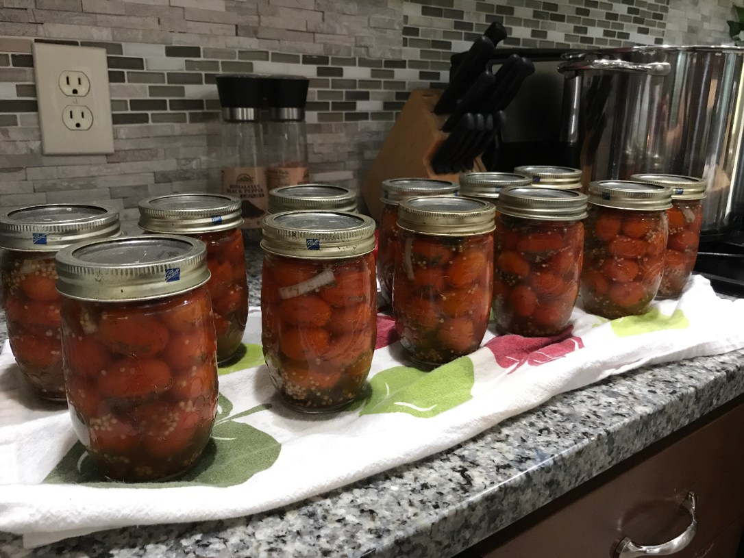 Mason jar canned cherry tomatoes