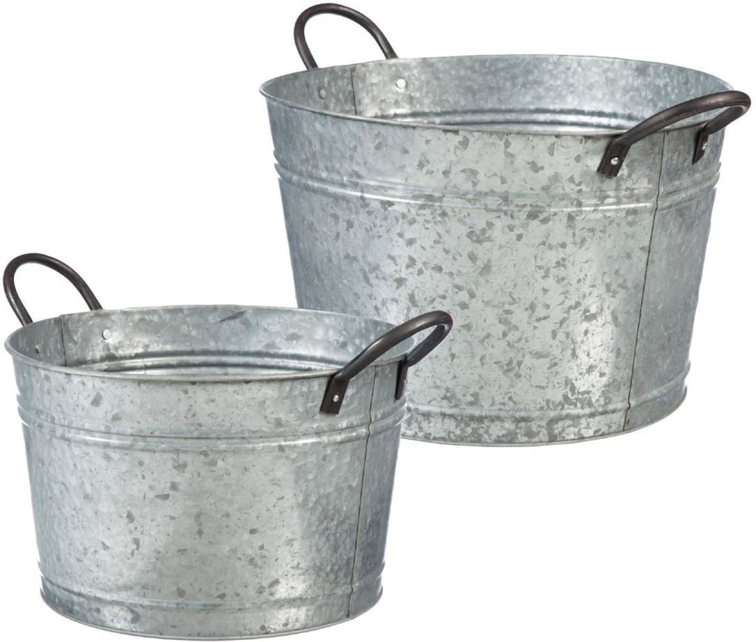 Galvanized Metal Buckets with Handles