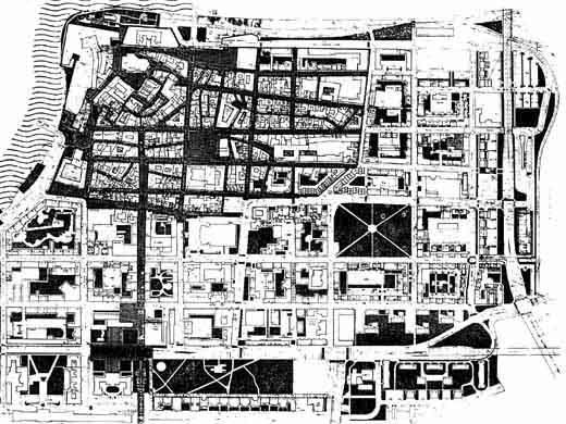 Aczél Gábor és munkatársainek terve 1980-ból: a belváros új szemléletű rekonstrukciója.