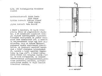 Szerkezeti leírás és a Gerber-főtartók nézete és metszete a csuklóknál. (forrás: GYŐRITERV kiadvány)