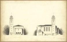 Az evangélikus egyházközösség nádorvárosi templomának terve, homlokzatok. Lakatos Kálmán, 1940. (forrás: © Ráth Mátyás Evangélikus Gyűjtemény, Győr)
