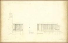 Az evangélikus egyházközösség nádorvárosi templomának terve, metszetek. Lakatos Kálmán, 1940. (forrás: © Ráth Mátyás Evangélikus Gyűjtemény, Győr)