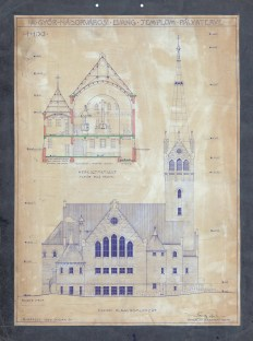 A Győr-Nádorvárosi Evangélikus templom pályaterve, metszet és homlokzat. Sándy Gyula, 1940. (forrás: © Ráth Mátyás Evangélikus Gyűjtemény, Győr)