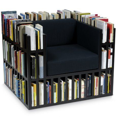 Reading chair with in-built book shelf