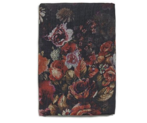 Zara SILK AND WOOL FLORAL SCARF