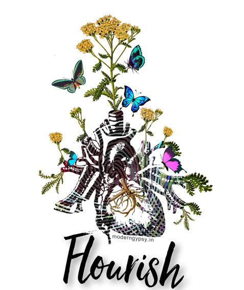Flourish illustration florals heart woty