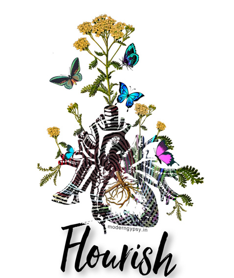 Flourish illustration florals heart woty