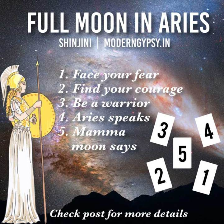 Tarot spread and journaling questions or the October 2019 full moon in Aries