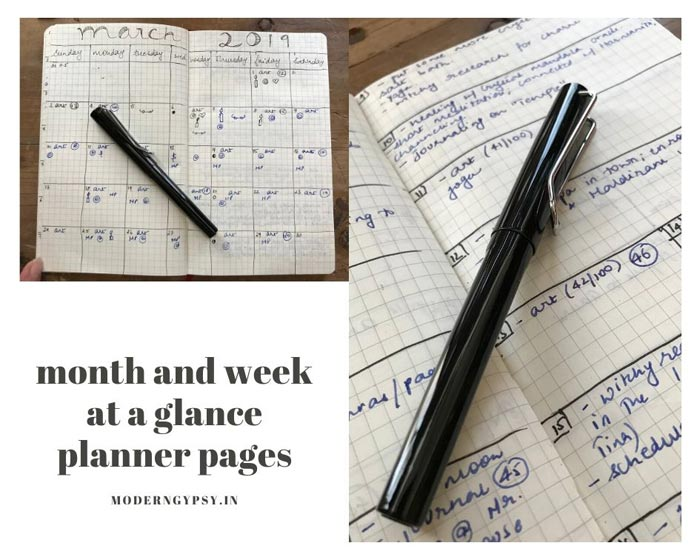Month and year at a glance planner pages for creative rebels