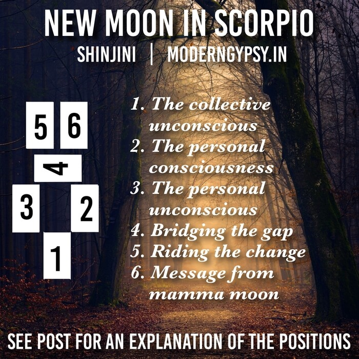 Tarot spread and journaling questions or the October 2019 new moon in Scorpio