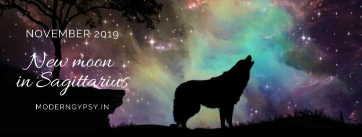 Tarot spread for the November 2019 new moon in Sagittarius
